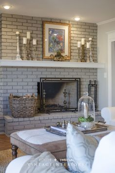 4 Smart Cool Tricks: Log Burner Fireplace Stone wood fireplace with tv.Open Fireplace Concrete large fireplace with tv above.Old Fireplace Pictures. Painted Brick Fireplaces, Grey Fireplace, Paint Fireplace, Brick Fireplace Makeover, Home Fireplace, Fireplace Remodel, Fireplace Design, Fireplace Ideas, Victorian Fireplace