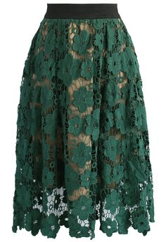 Floral Reverie Crochet Midi Skirt in Green - New Arrivals - Retro, Indie and Unique Fashion