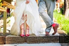 RED!  Love it.  The bride's striking red shoes compliment the groom's lighthearted socks.  From Samar + Jeff's wedding, Franklin Tennessee.  Photography by Krista Lee.