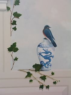 Bluebird with Chinese Vase, wall mural, The Inn at Castle Hill, Ipswich, MA