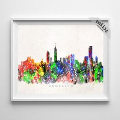 Medellin Skyline Print, Colombia Art, Cityscape, Watercolor Painting, Wall Art, City Skyline, Wall Decor, City Poster, Mothers Day Gift