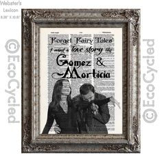 New to EcoCycled on Etsy: A Love Like Gomez and Morticia Addams A Real Fairy Tale on Vintage Upcycled Dictionary Art Print Book Art Print (10.00 USD)