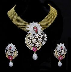 Indian CZ AD Gold & Silver Bollywood Gorgeous Necklace Bridal Swam Jewelry 569 #Unbranded