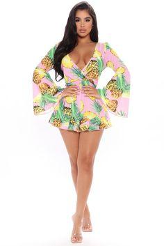 Fun And Fruity Romper - Pink/combo - Rompers - Fashion Nova Long Romper, Long Sleeve Romper, Beautiful Outfits, Cute Outfits, Beautiful Legs, Beautiful Clothes, Orange One Piece, Casual Dresses For Women, Beauty
