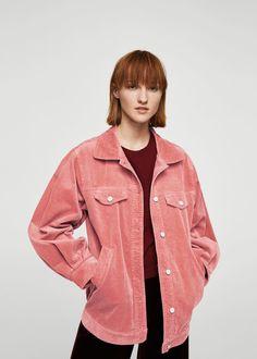 Geniş kesim fitilli kadife ceket - Kadın | MANGO Türkiye