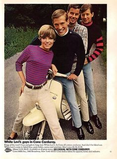 """Original vintage, Levi's corduroy pants advertisement from 1966. Enjoying the day and a ride on the Lambretta motor scooter. """"White Levi's Guys in cone corduroy"""" -An original 1966 Levi's pants adverti"""