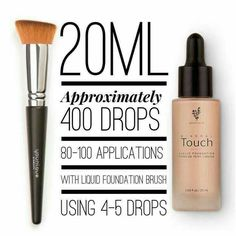 5 drops is all you need full coverage and oh so light on the skin love my Velour liquid foundation