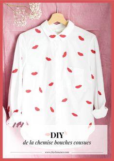 "DIY chemise ""kiss me"" / DIY kiss me shirt // www.cbyclemence.com blog DIY Do It Yourself Mode, Diy, Sweatshirts, Long Sleeve, Blog, Sleeves, Sweaters, Tops, Fashion"