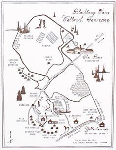 custom map for a wedding at Blackberry Farm by Mr. Boddington