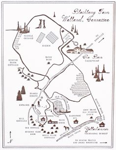 custom map for a wedding at Blackberry Farm by Mr. Boddington
