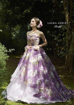 LAURA ASHLEY Bridal|京都でウェディングドレスの企画・製造・卸 |株式会社グレース Floral Wedding Gown, Wedding Gowns, Laura Ashley Clothing, Vintage Dresses, Vintage Outfits, Floral Dresses, Bride Groom Dress, Purple Dress, Cute Fashion