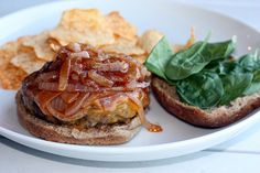 Burgers with BBQ Caramelized Onions & Cheddar by Elly Says Opa