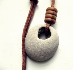 Natural drilled beach stones pebbles necklace - Beach Jewelry