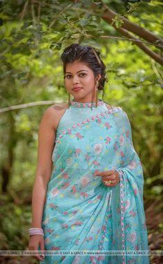 30abe6a907adb7 Mermaid's Dream Pure Silk-Chiffon Printed Saree with Raw-Silk Ribbon  Embroidered Blouse