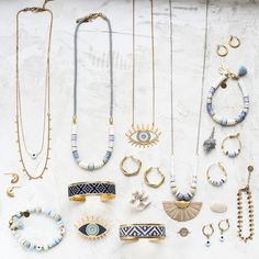 Spring-Summer collection 2020 Clay Jewelry, Jewelry Art, Beaded Jewelry, Jewlery, Fashion Jewelry, Santorini Sunset, Lucky Charm, Necklaces, Bracelets