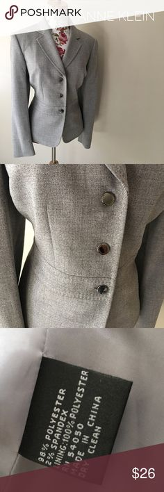ANNE KLEIN suit jacket EUC! Polyester suit jacket by Anne Klein! It's a middle tone gray with a classic silhouette! Great with dark dress pants or a skirt! Perfect professional jacket! Fully lined! Excellent quality! Anne Klein Jackets & Coats