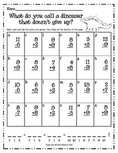 A Dinosaur Riddle -- Addition & Subtraction by Kathy Law Math For Kids, Fun Math, Math Activities, Summer Activities, Elementary Math, Kindergarten Math, Teaching Math, Preschool, Math Addition