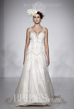 A beaded V-neck wedding dress from Sottero and Midgley by @maggiesottero | Brides.com