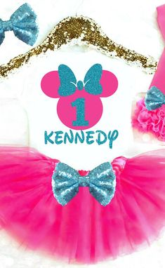 Minnie Mouse Birthday Outfit, Minnie Mouse 1st Birthday Outfit, Pink and Teal Turquoise Aqua Minnie Mouse First Birthday Outfit, Minnie Mouse Birthday Onesie, Minnie Mouse Birthday Shirt Minnie Mouse 2nd Birthday Outfit, Minnie Mouse 3rd Birthday Outfit, Minnie Mouse 4th Birthday Outfit