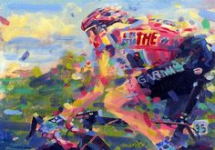 """hm7: acrylic on paper 8x12"""" Ryder Hesjedal took on the whole of Italia and some of Spain on his own….to win the 2012 Giro, magic!! (via PAINTING LE TOUR: RYDER!!)"""
