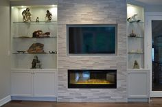 AFTER Munro Fireplace Wall ~ Custom Wall Unit with glass shelves & lighting + closed storage