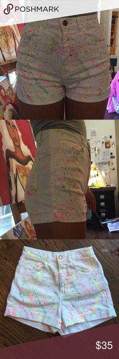 High waisted shorts White stretchy denim, high waisted, neon rainbow splatter pattern, cuffed. American Apparel Shorts Jean Shorts