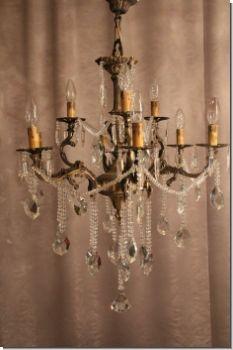 Massiv Gearbeiteter Jugendstil Kristall Perlen Prunklüster Kronleuchter Aus  Bronze 1+230