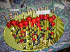 Harry Potter Birthday Party--fruit wands--could be a DIY for the kids!