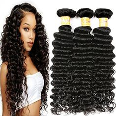 JQM 7A Brazilian Deep Wave Bundles Unprocessed Virgin Curly Hair Weave Remy Wet And Wavy Human