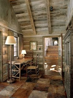 Rustic cabin interior pictures rustic cabin interiors home office rustic . Cabin Interior Design, Interior Exterior, House Design, Rustic Home Offices, Rustic Office, Cabin Office, Cabin Homes, Log Homes, Chalet Modern
