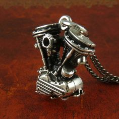 Motorcycle Engine Necklace Antique Silver Harley by LostApostle