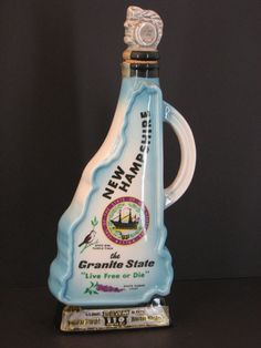 Jim Beam New Hampshire Liquor Bottle, Antique Genuine Regal China, C Miller 1968 ~ Live Free or Die