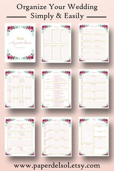 Wedding Planner Printable, Binder Planning Printables, Wedding ...