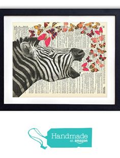 Zebra With Butterflies Upcycled Vintage Dictionary Art Print 8x10 from Vintage Book Art Co. https://www.amazon.com/dp/B016NI7ARI/ref=hnd_sw_r_pi_dp_hy0kybRZ5B450 #handmadeatamazon