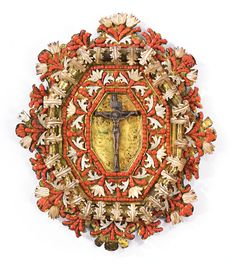 A SICILIAN CORAL-, MOTHER OF PEARL-, AND SILVER-MOUNTED GILT COPPER DEVOTIONAL PLAQUE LATE 17TH CENTURY, TRAPANI height 9 1/2 in.; 24.1 cm.
