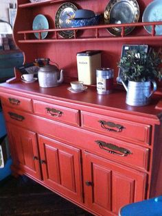 Brick Red Vintage Shabby Chic Hutch by ShabbyChicAlchemy on Etsy, $499.00