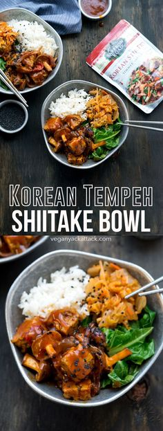 This Korean Tempeh Shiitake Bowl is easy, filling and made with delicious Saffron Road Korean Stir-fry sauce. Enjoyed with rice, kimchi and greens! #SaffronRoadFood #sponsored #vegan