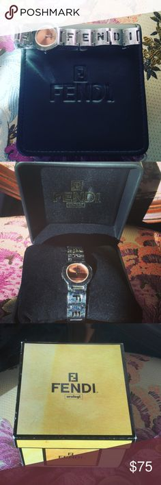 FENDI Watch Adorable Fendi Watch!!! Comes with original Box!  Has been worn and loved, needs a battery and a good shine and will look Super Cute on!! Fendi Jewelry Bracelets
