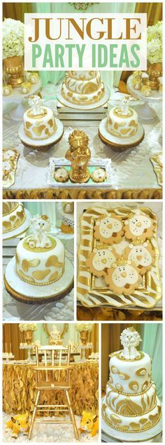 What a fantastic gold and white jungle themed first birthday! See more party ideas at CatchMyParty.com!