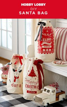 Combine pre-made drawstring duffel bags with iron-on vinyl creations to create a custom Christmas tote! Find downloadable templates on our website.