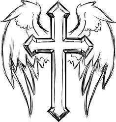 Cross Coloring Pages. New Cross Coloring Pages. Cross with Wings Coloring Page Cross Coloring Page, Mandala Coloring Pages, Adult Coloring Pages, Cross Tattoo Designs, Tattoo Design Drawings, Cool Drawings, Pencil Drawings, Music Drawings, Cross Designs