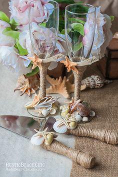 BEACH Wedding cake server and knife & wedding by RusticBeachChic