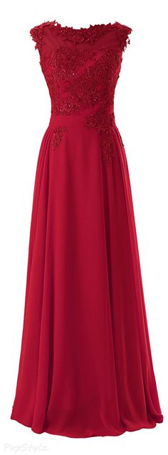 Diyouth Appliqued Chiffon Long Evening Gown