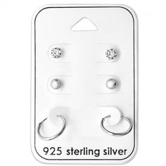 Baby and Childrens Earrings:  Sterling Silver 3 x Pair Gift Pack Studs and Sleepers.  Great value gift packs of kids' earrings from Baby Jewels.