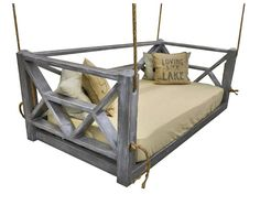 Description: Bet you've never relaxed like this before! The Seaside Bed Swing from Four Oak Designs offers a luxurious way to relax indoors or out of doors on your deck, patio, or porch. Diy Hammock, Hammock Swing, Chair Swing, Swing Beds, Garden Hammock, Hanging Beds, Hanging Chairs, Oak Beds, Outdoor Living