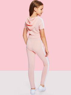 Girls Stripe Side Ribbed Knit Hoodie and Pants Set -SheIn(Sheinside) Preteen Girls Fashion, Teenage Girl Outfits, Girls Fashion Clothes, Kids Outfits Girls, Cute Girl Outfits, Cute Outfits For Kids, Fashion Kids, Fashion Outfits, Fashion 2016