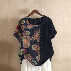Site Mode, Blue Fashion, Womens Fashion, Autumn Fashion, Types Of Sleeves, Ideias Fashion, Floral Prints, Floral Tops, Tunic Tops