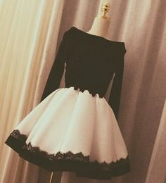 Elegant black and white long sleeve short prom dress,evening dress,homecoming…