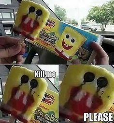 What is it with these messed up Spongebob ice creams? This is the third time I've seen it! Crazy Funny Memes, Really Funny Memes, Stupid Memes, Funny Relatable Memes, Wtf Funny, Funny Cute, Funny Shit, Funny Jokes, Hilarious