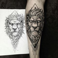 blackwork lion tattoo idea